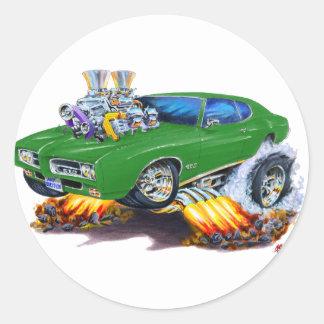 1969 GTO Green Car Round Sticker