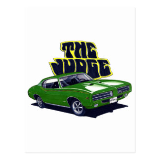1969 GTO Judge Green Car Postcard