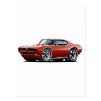 1969 GTO Judge Maroon Hidden Headlight Car Postcards