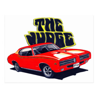 1969 GTO Judge Red Car Postcard