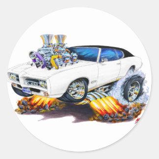 1969 GTO White-Black Car Round Stickers