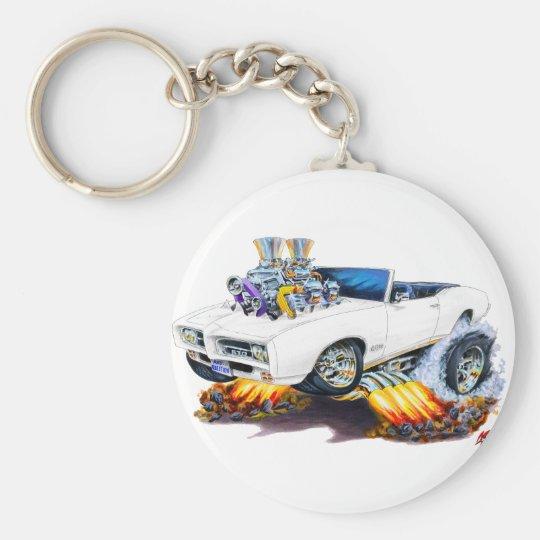 1969 GTO White Convertible Basic Round Button Key Ring
