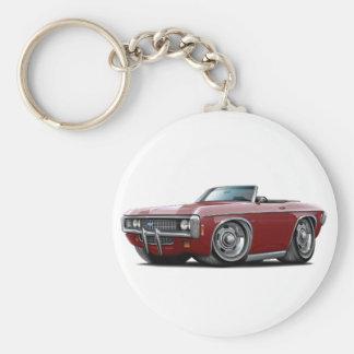 1969 Impala Maroon Convert Basic Round Button Key Ring