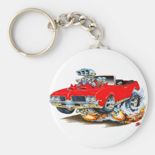 1969 Olds Cutlass Red Convertible Basic Round Button Key Ring