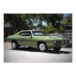 "1969 Pontiac GTO Muscle Car Invitations 5"" X 7"" Invitation Card"