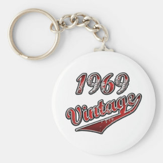 1969 Vintage Basic Round Button Key Ring
