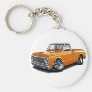 1970-72 Chevy C10 Orange-White Top Truck Basic Round Button Key Ring