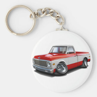 1970-72 Chevy C10 Red-White Truck Basic Round Button Key Ring