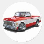 1970-72 Chevy C10 Red-White Truck Classic Round Sticker