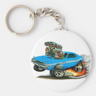 1970-72 Dodge Challenger Lt Blue Car Basic Round Button Key Ring