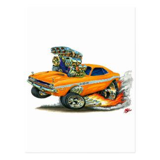 1970-72 Dodge Challenger Orange Car Post Card