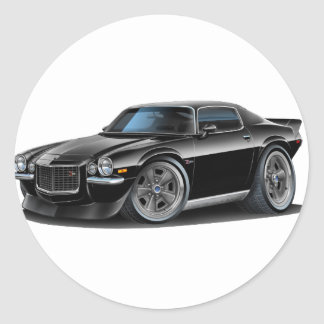 1970-73 Camaro Black Car Classic Round Sticker