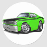 1970-74 Duster 340 Lime Car Round Stickers