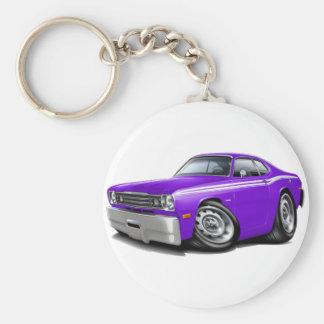 1970-74 Duster Purple-White Car Basic Round Button Key Ring