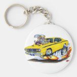 1970-74 Plymouth Duster Yellow Car Basic Round Button Key Ring