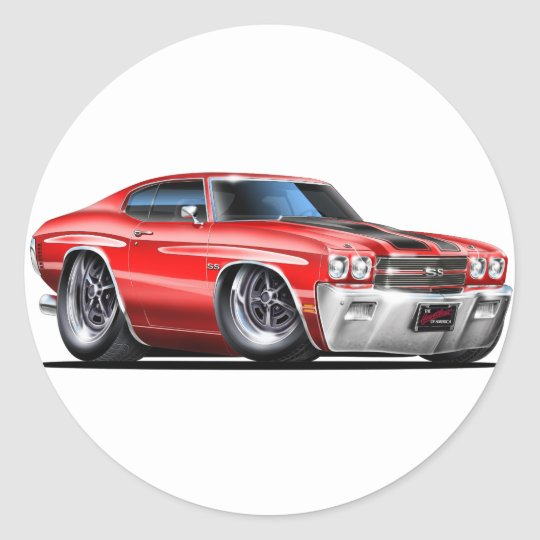 1970 Chevelle Red-Black Car Classic Round Sticker
