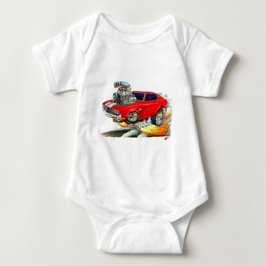 1970 Chevelle Red-White Car Baby Bodysuit