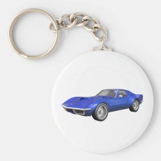 1970 Corvette Sports Car: Blue Finish Basic Round Button Key Ring