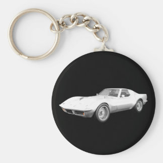 1970 Corvette Sports Car: White Finish Basic Round Button Key Ring