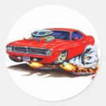 1970 Cuda Red Car Round Sticker
