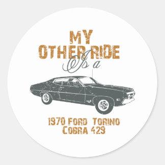1970 Ford Torino Cobra 429 Round Stickers