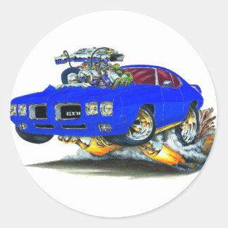 1970 GTO Blue Car Round Sticker