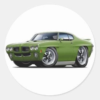 1970 GTO Green Car Round Sticker