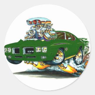 1970 GTO Judge Green Car Round Stickers