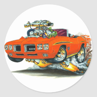 1970 GTO Judge Orange Convertible Round Sticker