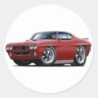 1970 GTO Maroon Car Round Sticker