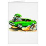 1970 Plymouth Cuda Green Car Greeting Cards