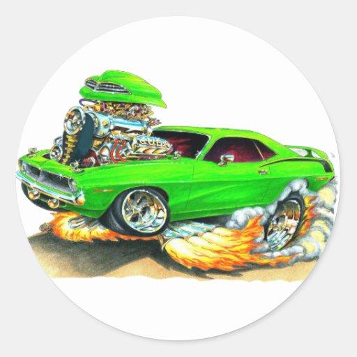 1970 Plymouth Cuda Green Car Round Sticker