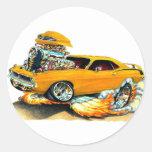 1970 Plymouth Cuda Orange Car Round Stickers