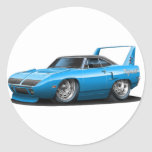 1970 Plymouth Superbird Blue Car Round Sticker