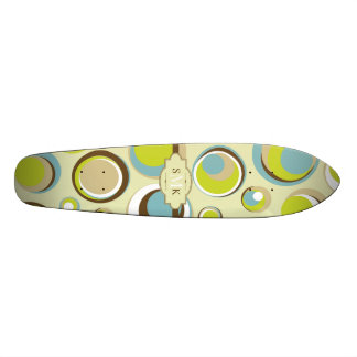 1970's Retro Circle Pattern Old School Skateboard
