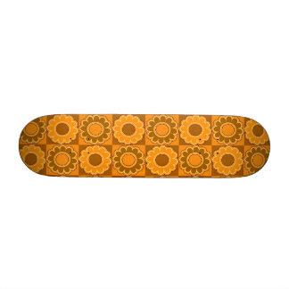 1970s flower power brown and orange retro skate boards