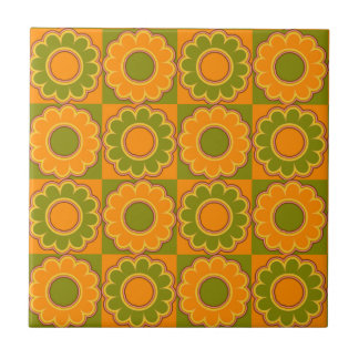 1970s flower power orange and olive green retro small square tile