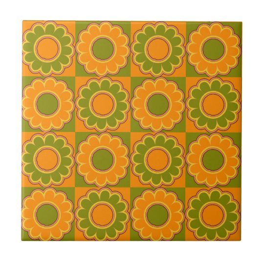 1970s Flower Power Orange And Olive Green Retro Small