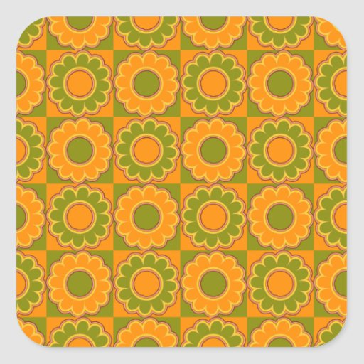 1970s flower power orange and olive green retro square stickers