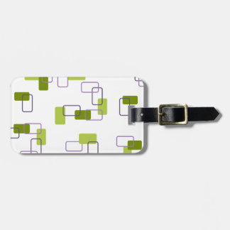 1970's Inspired Retro Geometric Lime Pattern Luggage Tag