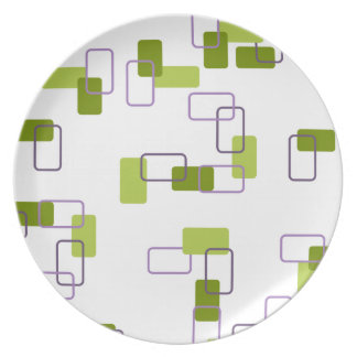 1970's Inspired Retro Geometric Lime Pattern Plate