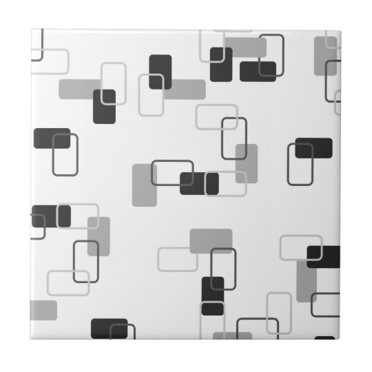 1970's Inspired Retro Geometric Monochrome Pattern Small