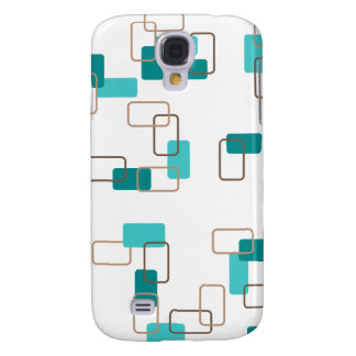 1970's Inspired Retro Geometric Teal Pattern Galaxy S4 Case