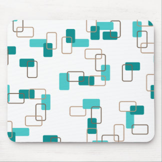 1970's Inspired Retro Geometric Teal Pattern Mouse Pad