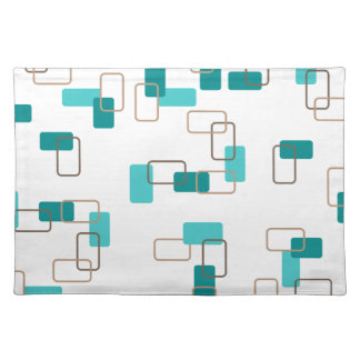 1970's Inspired Retro Geometric Teal Pattern Placemat