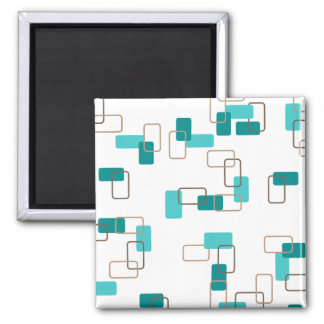 1970's Inspired Retro Geometric Teal Pattern Square Magnet