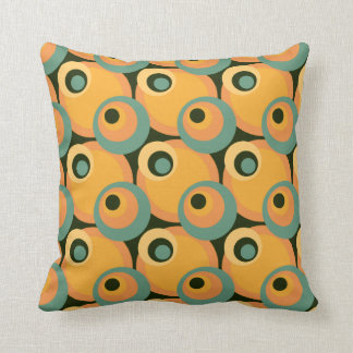 1970s overlapping disco circles yellow and green cushion