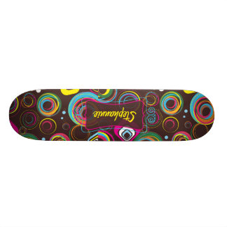 1970's Retro Circle Colorful Comp Skateboard