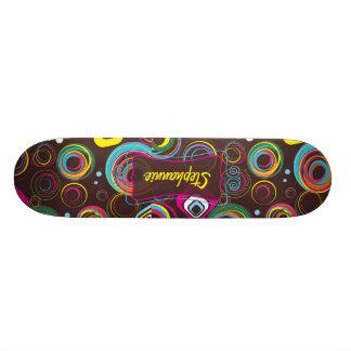 1970's Retro Circle Colorful Comp Skateboard
