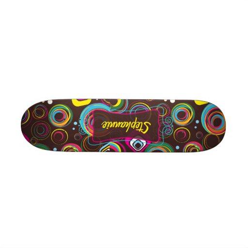 1970's Retro Circle Colorful Mini Skateboard